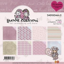 Karten und Scrapbooking Papier, Papier blöcke Yvonne Creations - Paper Pack - Kærlighed