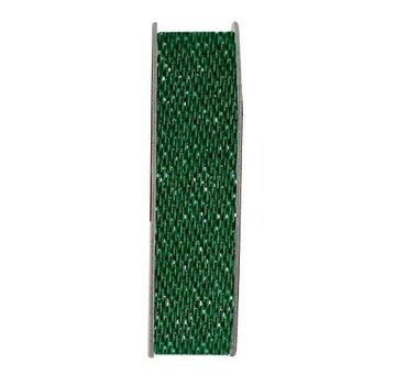 DEKOBAND / RIBBONS / RUBANS ... Ribbon, glitter satin, green, 3 meters.