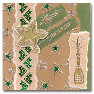 STICKER / AUTOCOLLANT Glitter Stickers: Glitter sølv / guld