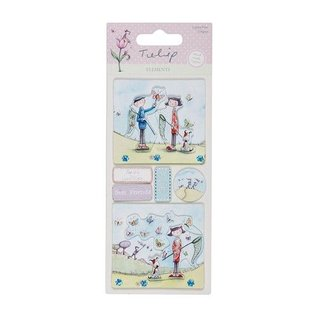 Embellishments / Verzierungen Gedetailleerde handgemaakte stickers elementen uit het Tulip assortiment. 230gr.