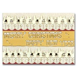 STICKER / AUTOCOLLANT Glitter Stickers: cute snowmen in silver / gold