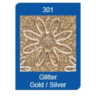 STICKER / AUTOCOLLANT Glitter autocollants: Transp Glitter / Or