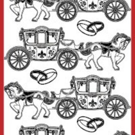 Sticker Detailliert, geprägte, Ziersticker für Hochzeit, Farbe transparent/gold