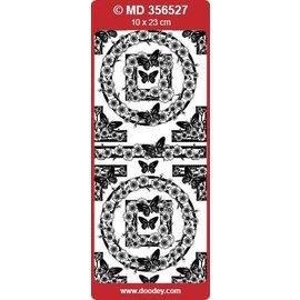 """Sticker Ziersticker, """"vlinders"""", zilver / zilver"""