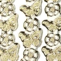 """Detailliert, geprägte, Ziersticker, """"Schmetterlinge"""", transp./gold,"""