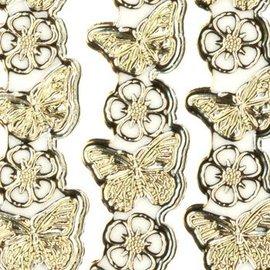 "STICKER / AUTOCOLLANT Ziersticker, ""papillons"", transp. / Or,"