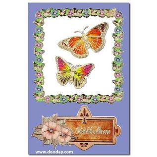 "STICKER / AUTOCOLLANT Ziersticker, ""vlinders"", transp. / Goud,"