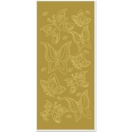 """STICKER / AUTOCOLLANT Ziersticker, """"butterflies"""", gold / gold"""