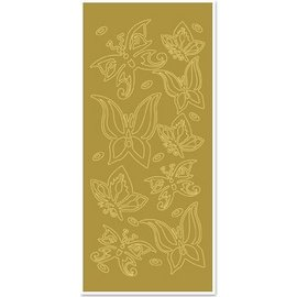 "STICKER / AUTOCOLLANT Ziersticker, ""Schmetterlinge"", gold/gold"