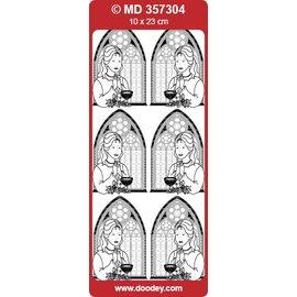 """Sticker Detailliert, geprägte, Ziersticker, """"Kommunion/Konfirmation, Mädchen"""", transp./gold"""