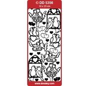 Sticker 1 Ziersticker Lovebirds, gold