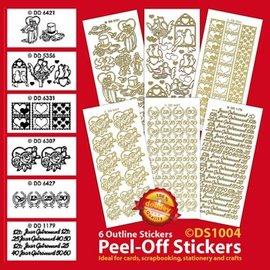 Sticker Sæt med 6 dekorative klistermærker, guld
