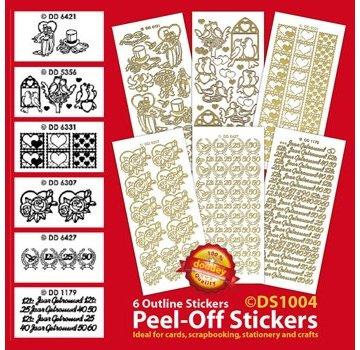 Sticker Set di 6 adesivi decorativi, oro