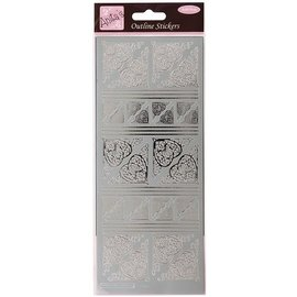 STICKER / AUTOCOLLANT Contouren Sticker, Celtic Heart hoeken, zilver