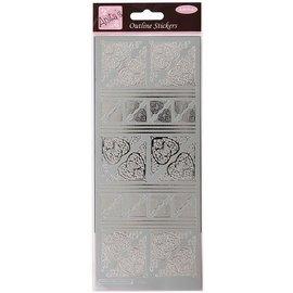 STICKER / AUTOCOLLANT Contours Sticker, Celtic Heart corners, silver