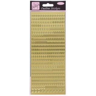 STICKER / AUTOCOLLANT Contouren stickers, kleine letters, goud