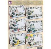 BASTELSETS / CRAFT KITS komplet kort sæt, Panda Parade