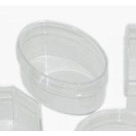 BASTELZUBEHÖR, WERKZEUG UND AUFBEWAHRUNG Caja de acrílico: ovalada con tapa, 110 x 70 x 50 mm