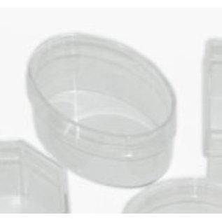 BASTELZUBEHÖR, WERKZEUG UND AUFBEWAHRUNG Aufbewahrung Acryldose: oval mit Deckel, 110 x 70 x 50 mm