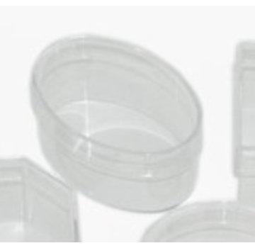 BASTELZUBEHÖR, WERKZEUG UND AUFBEWAHRUNG Acrylic box: oval with lid, 110 x 70 x 50 mm
