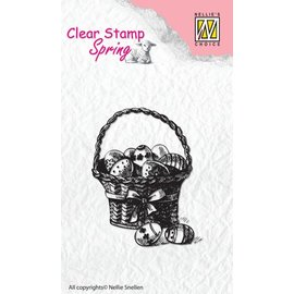 Nellie Snellen Transparent stamp: Basket with Easter eggs