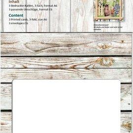 KARTEN und Zubehör / Cards Picaporte tarjetas de época, pared de madera