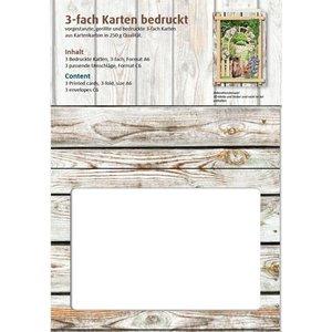 KARTEN und Zubehör / Cards Passepartout kaarten Vintage, houten wand
