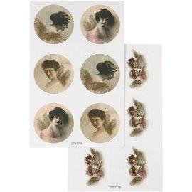 Embellishments / Verzierungen Sticker med nostalgiske billeder