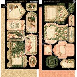 GRAPHIC 45 2 hojas con Lady Etiquetas y Bolsa (bolsillos)