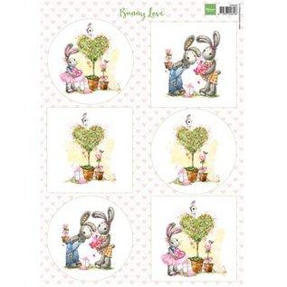 Bilder, 3D Bilder und ausgestanzte Teile usw... A4, Bilderbogen: Bunny Love