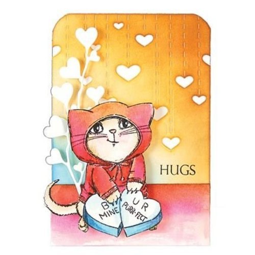 Penny Black Transparante Postzegels: leuke kat met hart