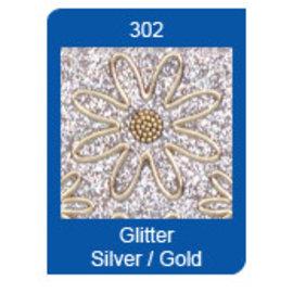 STICKER / AUTOCOLLANT Micro Glitter Stickers, lines, silver / gold