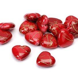 Embellishments / Verzierungen Hearts, red, 1.5 cm, 24pcs in one bag plastic.