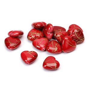 Embellishments / Verzierungen Hearts, red, 1.5 cm, 24pcs in one bag plastic.