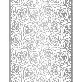 Lin & Lene, Embossing A6,Hintergrund Rosen + Blätter.