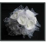 BLUMEN (MINI) UND ACCESOIRES roses en mousse, 12 roses, blanc