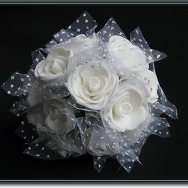 BLUMEN (MINI) UND ACCESOIRES rosas de espuma, 12 rosas, blanco