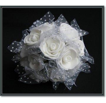 BLUMEN (MINI) UND ACCESOIRES rose Schiuma, 12 rose, bianco