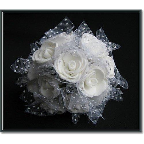 BLUMEN (MINI) UND ACCESOIRES Foam roses, 12 Röschen, weiss