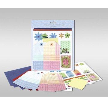 """KARTEN und Zubehör / Cards Sæt af kort til at være personlige, """"blomster"""", str. 7,8 x 13,5 cm"""