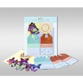 """Sets kaarten gemaakt kunnen worden, """"vlinders"""", formaat 7,8 x 13,5 cm,"""