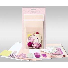 """KARTEN und Zubehör / Cards Kartensets zum Selbstgestalten, """"Rosé"""", für 4 Karten, Grösse 11,5 x 21 cm und 11,5 x 17 cm"""