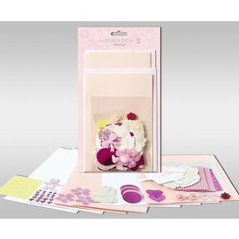 """KARTEN und Zubehör / Cards Sett med kort for å være personlig, """"Rose"""", for fire kort, størrelse 11,5 x 21 cm og 11,5 x 17 cm"""