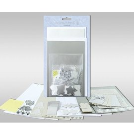 """KARTEN und Zubehör / Cards Sett med kort for å være personlig, """"Silver"""", for fire kort, størrelse 11,5 x 21 cm og 11,5 x 17 cm"""