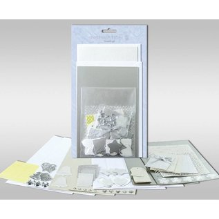 """KARTEN und Zubehör / Cards Sets of cards to be personalized, """"Silver"""", for 4 cards, size 11.5 x 21 cm and 11.5 x 17 cm"""