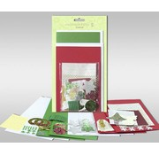 """BASTELSETS / CRAFT KITS Jeux de cartes à personnaliser, """"hiver"""", pour 4 cartes, taille 11,5 x 21 cm et 11,5 x 17 cm"""