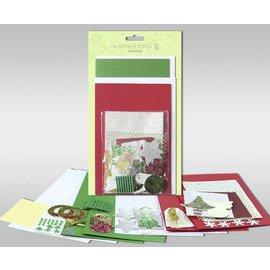 """BASTELSETS / CRAFT KITS Sett med kort for å være personlig, """"vinter"""", for fire kort, størrelse 11,5 x 21 cm og 11,5 x 17 cm"""