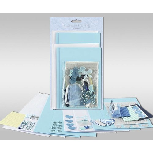 """KARTEN und Zubehör / Cards Sets of cards to be personalized, """"blue hearts"""", for 4 cards, size 11.5 x 21 cm and 11.5 x 17 cm"""