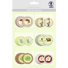 Embellishments / Verzierungen 30 hübsche Chipboards, Papier Accessoires, Garten-Motive
