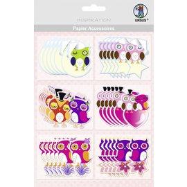 Embellishments / Verzierungen Mooie papieren accessoires, 36 uilen, sommige met glitter